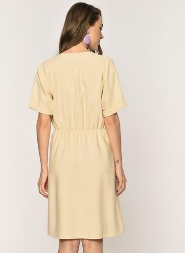 Loves You Keten Karışımlı Düğmeli Elbise Bej